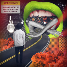 freetoedit dream sleep surreal mouth openwide caution road strange bizarre enjoythetrip trippy collage smokeeffect