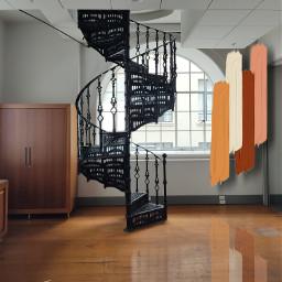 spiralstaircase 2levels polishedwoodenfloor polished woodenfloor brown black freetoedit srcsimplepaintsroke simplepaintsroke