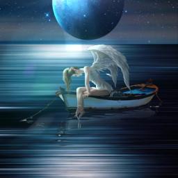 freetoedit night ocean planet angel