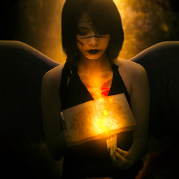 fire burning book ancient girl wings dark glow flames magic fantastical