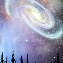 galaxy galaxies night silhouette forest freetoedit
