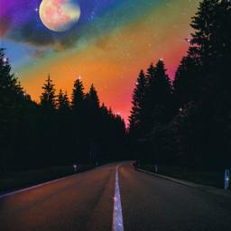 sky heaven rainbow moon glitter road forest galaxy nature night dusk shine aestheticedit aestheticwallpaper aestheticsky aestheticedits background tumblr aesthetictumblr fantasy gacha stars remixit imagineabrighterreality freetoedit