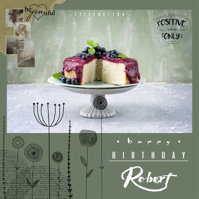 """HAPPY BIRTHDAY ROBERT!  I know you left, but let's just say """"einfach schon aus Prinzip"""" 😄.  Thank you for making our PicsArt lives so much brighter. We appreciate you a lot.  Yesterday was your birthday, here (where I am) it still is.  Please have a great weekend and a lovely new year.  @rfg99pics 🎈   #birthday #happybirthday #green #edit #aesthetics #cake #pastel #colours #collage"""