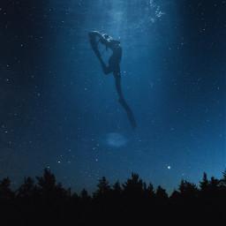 diving sky sea girl woman dive galaxy art interesting myedit newedit picsart freetoedit