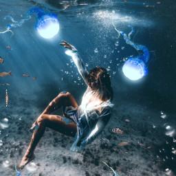 freetoedit underwater blue sirens jellyfish ocean heypicsart madewithpicsart manipulation creative surreal imagination thank imagination