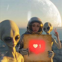 alien astronauts space galaxy freetoedit picsart myedited like