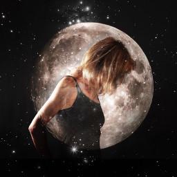 moonportrait doubleexposure stars