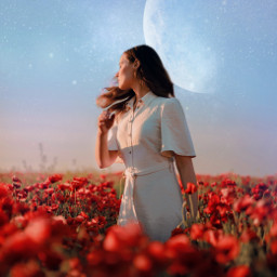 people woman planets universe magical landscape beauty outdoor outside full standing remixit freetoedit