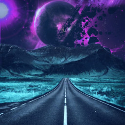 landscape road galaxy freetoedit