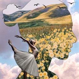 shilouette flowers sunflowers yellow girl face dancer ballerina birds clouds mountains landscape madebyme madewithpicsart loveit freetoedit