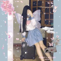 pink butterfly sakura cherylblossom freetoedit