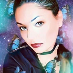 freetoedit woman bokeh butterfly replay myedit