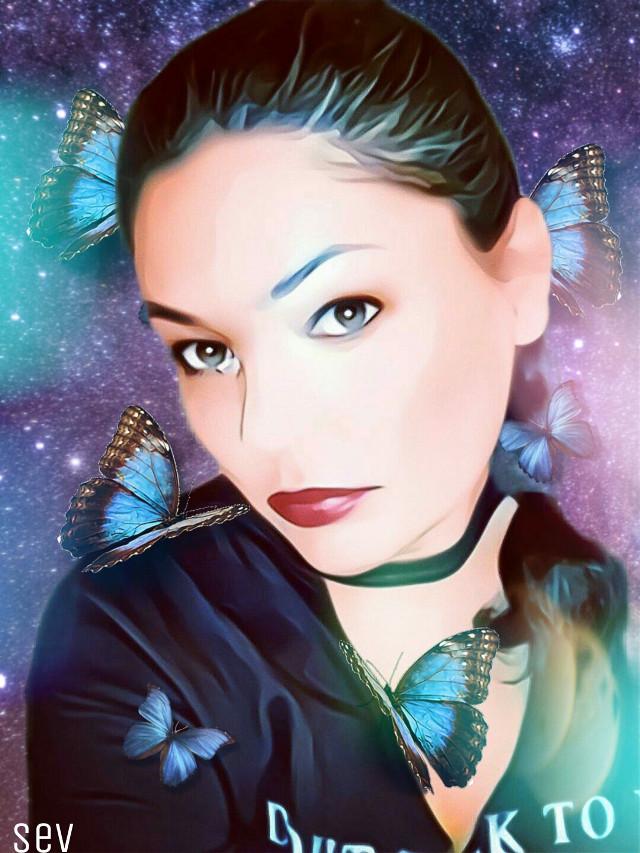 #freetoedit #woman #bokeh #butterfly #replay #myedit