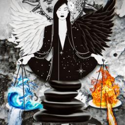 blackandwhite tarotcard justice balance rcyinyangwings yinyangwings freetoedit