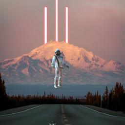 freetoedit astronaut mountain sunrise light