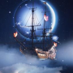 peterpan magic moon blue sky beautifull arts myedits galaxy butterfly nights freetoedit