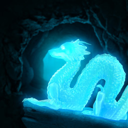 dragon wolf glow blue dark cave mystery fantastical mutant night