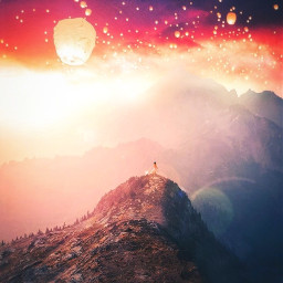 picsart freetoedit remixit sunset sunrise sun clouds glow sky stars night moody dark light color background view png silhouette travel rocketship spaceship deer waterfall hike