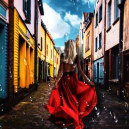 lluvia reddressgirl rain freetoedit