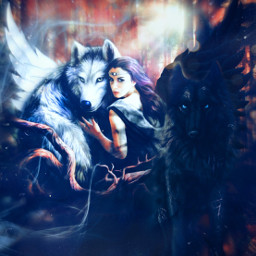 myedit myart wolfs wolfwoman yinyang spirit spiritual magical magicalart fantasy forest fairyforest bkackandwhite createbyme makewithpicsart freetoedit rcyinyangwings yinyangwings