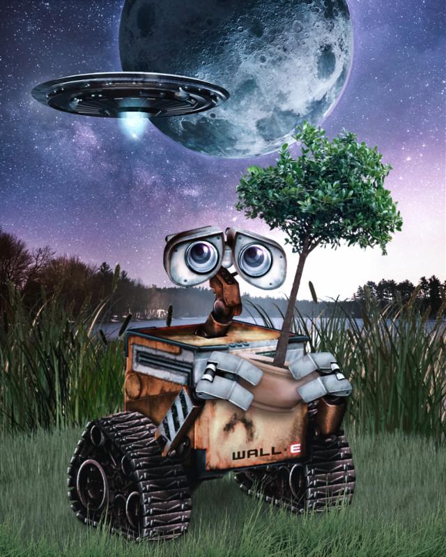 Have a super nice Friday and weekend planet 👋🏻👽👉🏻☕️🍪🍩@PA 😊   #walle #robot #disney #pixar #fanart #nature #aliens #night #moon #ufo #alienized #alienizedarts #wallpaper #uhd #picsarteffects #editedwithpicsart