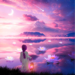 fantasyart nature sky moon clouds galaxy shootingstar lake mountain lotusflower lights shine girl sparkle myedit myart madewithpicsart heypicsart makeawesome freetoedit