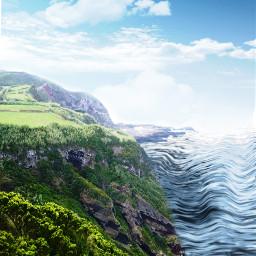 water beautiful valley montain cloud sky ocean lake river bird fly interesting freetoedit
