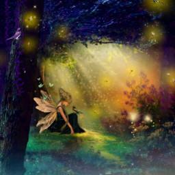 myedit myart fairy fairyforest fantasy fantasyart magic magical fée butterflys createdbyme makewithpicsart freetoedit