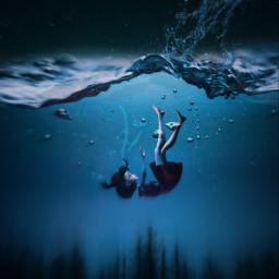 waw girlfalling underwater picsart tree dark sad beautiful freetoedit
