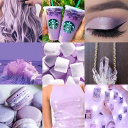 aesthetic pastel purple eyeshadow gems necklace dress wall lights macarons ocean hair starbucksdrink marshmallows wavyhair cute beauty collage