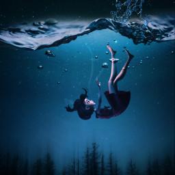 replay underwater girlfalling tree dark freetoedit