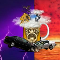 surreal abstract nonsense beer clouds lion doorknocker spiralstaircase carcrash bats spaceinvader lightning redsky freetoedit