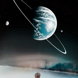 freetoedit myedit myremix neptun girlinwater surreal outerspace space picsarteffects