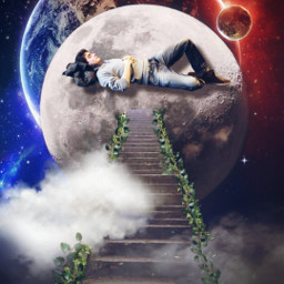 freetoedit planet planets moon sleep slepping dream araceliss madewithpicsart surreal