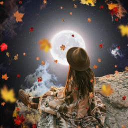 freetoedit surreal myedit madewithpicsart madebyme be_creative creativity araceliss girl sky night moon fullmoon sunset leaves leaf