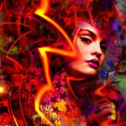 myoriginalwork originalart conceptart womanportrait colorful avantgarde abstract fantasyart mystique ethereal orange