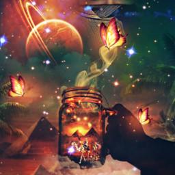 freetoedit myedit myart fantasy fantasyart magic magical desert dunes pyramid egyptian egyptbeauty butterflies galaxy superposition fairy surreal createdbyme makewithpicsart challengepicsart ircmagicfairyjar magicfairyjar