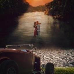 mirpar02 car kiss couple lake sunset myedit notfreetoedit