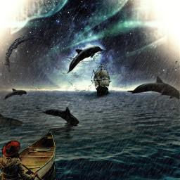 freetoedit edited myson stickers stickerremix surealism surealistic dolfins sea northernlights