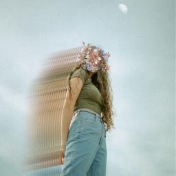 motion moon sky girl asthetic flowers people freetoedit