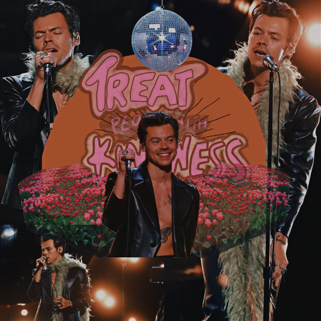 Harry styles🎤 #harrystyles #singer #beautiful #stickers #flowers #discoball #background #text #performance #singing #treatpeoplewithkindness #tattoos #edit #vintage #aesthetic #lights #adjust #picsart