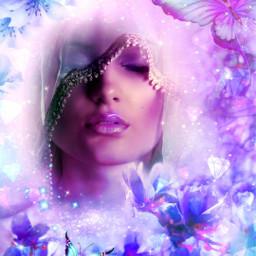 myedit myart fantasy fantasyart woman womanportrait flowers butterflies cristaux magic beauty prism prismeffect createdbyme makewithpicsart challengepicsart freetoedit srcshinycrystals shinycrystals