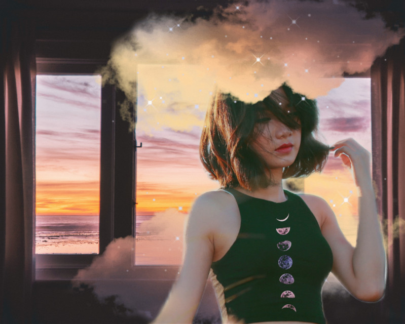 #clouds #window #pose #moonphases #sunset #dream #dreamy #colors #beautiful #heypicsart #makeawesome #vibes #trippy #surreal #pastel #madewithpicsart