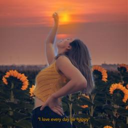 replay sunflowerfield sunset girl flowers aesthetic goldenhour behappy freetoedit