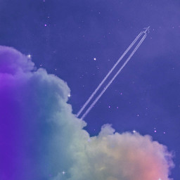freetoedit sky heaven clouds plane rainbow night stars glitter aesthetic aestheticedit aestheticwallpaper blue purpleaesthetic purple sweet beautiful galaxy imagineabrighterreality colorful remixit background aesthetictumblr inspiration
