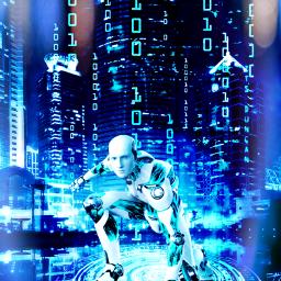 myedit surreal fantasy fantastic fantasyart city robot matrix matrixeffect night prism prismeffect irreal createdbyme makewithpicsart freetoedit