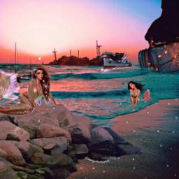 freetoedit picsart picsartchallenge challenge surreal fairyjar ocean mermaid mermaids rocks beach ship dolphin pearls sparkles loveit girly ownedit plsvote unsplash ircmagicfairyjar magicfairyjar