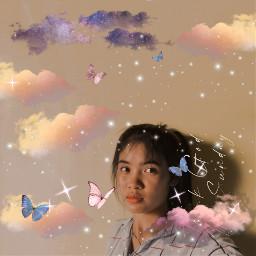 pic edit butterfly sky freetoedit