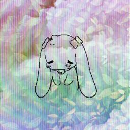 rainbow leaves bunny tvstatic tv cute wallpaper sad sweet edit freetoedit