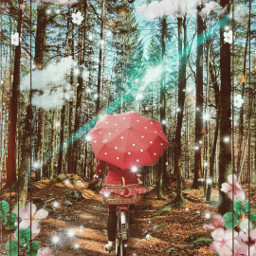 person bike umbrella trees coluds flowers freetoedit